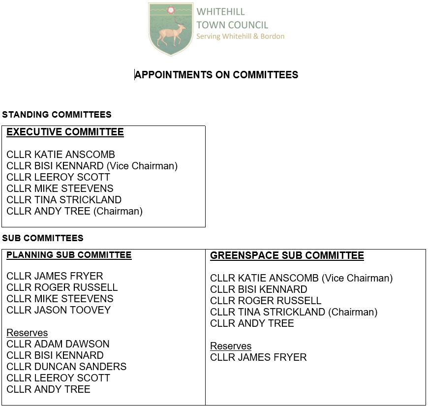 Picture of appointments on committees as at 9 July 2020