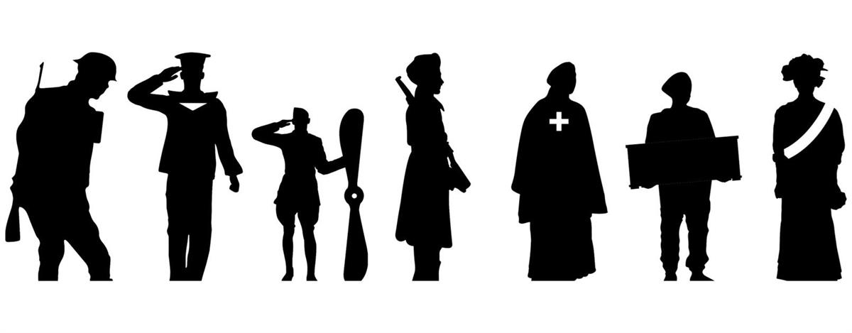 Silhouettes of Remembrance figures